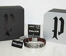 POLICE Herren Armband STAMP Edelstahl Leder braun S 19cm NEU OVP
