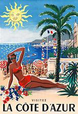 Art Ad VISITEZ  LA CÔTE D'AZUR  Travel Poster Print