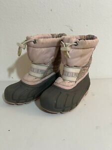 SOREL Kids Girls Size 10 Pink Floral Waterproof Insulated Warm Winter Boots