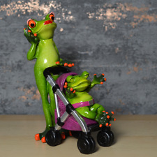 More details for comical frogs figurine mother frog with baby statue home decoration ornament