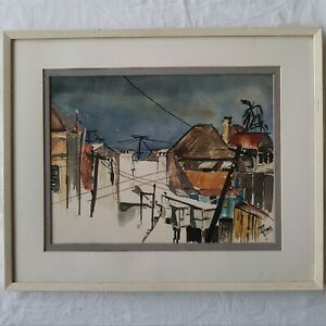 Watercolour Landscape Painting by Irene Amos OAM,  Listed Artist, 'Rooftops'.