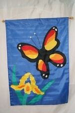 """28x40 Embroidered Sewn Butterfly Flower Appliqued Nylon Garden Flag 28""""x40"""""""