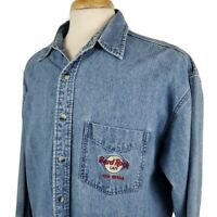 Hard Rock Cafe Las Vegas Mens Denim Shirt XL Long Sleeve Blue Embroidered Guitar