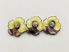 Flower Paste Rhinestone Brooch Antique Edwardian Guilloche Enameled Pansy