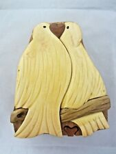 World Design Two Love Birds Hand Crafted Carved Wood Puzzle Jewelry/Trinket Box