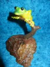 Frog Sculpture Statue Sitting on Burlwood Base - John Perry Art Figure - Look