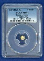 ND 1638-62 PCGS MS64 India - Mysore Kanthirava Gold Fanam PCGS MS-64