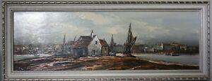 Estuary Scene - Original Oil Painting on Board By Edward Elliott, signed