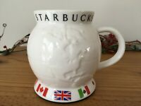 STARBUCKS BARISTA Coffee Cup Mug GLOBE World Flags 2002 With Lid 24 oz EUC