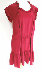 Isabel Marant Raspberry pink 100% silk frill dress 2 UK 10