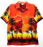 Kennington Mens Sz L Hawaiian Aloha Shirt Orange Red Black Hula Girl Lei Floral