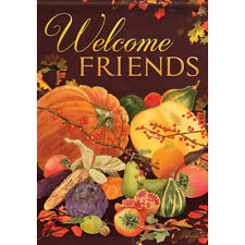 """New listing Harvest Welcome Friends House Flag 28"""" x 40"""" Double sided Fall"""