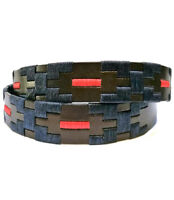 """""""Salta"""" Polo Belt with Waxed Threads - Black - Argentine Leather Embroidered"""