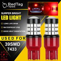 2X 39-SMD LED 7443 Strobe Blinking Flashing Brake Light Bulb Safety Warning Red