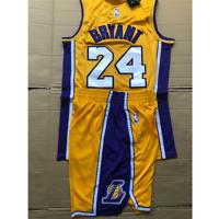 #24 Kobe Bryant Los Angeles Lakers Yellow Hardwood Men's Jersey & Shorts Size: L