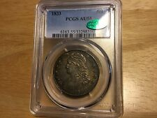 1833 PCGS CAC AU 55 Silver Capped Bust Half Dollar Original and pretty TONING!!!