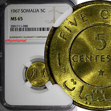 Somalia 1967 5 Centesimi NGC MS65 1 YEAR TYPE TOP GRADED COIN BY NGC KM# 6