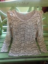 Maurices Small White/gray Lace Long Sleeve Blouse, Flower Pattern 🌺