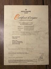 Vintage Certificate paper Guarantee! Authentic Patek Philippe Unfilled
