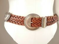 Brighton 1991 Brown Woven Braided Leather Belt Silvertone Hearts Conchos Size M