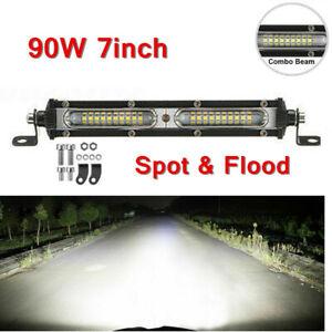 1pc 7inch White LED Work Light Bar 90W Spot Flood Combo Single Row Driving Lamps