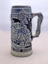 Vintage German Stoneware Salt Glaze Cobalt Beer Stein Bierkrug, Charging Knight