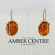 Intricately Designed Baltic Amber in 9ct Gold Drop Earrings GE0110 RRP£260!!!