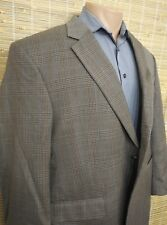 JOS A. BANK MEN'S SPORTS COAT WINDOWPANE GRAY 45R 100% WOOL TWO-BUTTON ONE-VENT