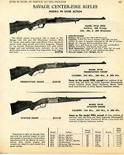 1968 Print Ad of Savage Model 99-Dl, 99-Pe Presentation & 99-De Citation Rifle