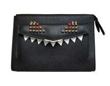 Fendi Monster Bag Tasche Umhängetasche Crossbody Leder schwarz gold neu Rechnung