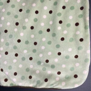 Koala Baby Green Polka Dots Blanket White Brown Sherpa Lovey Security FAST SHIP