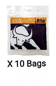 10 Bags x 450 Bull Brand Ultra Slim Filter Tips 5.3mm 4500 Extra Slim Tips