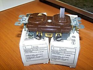2) NEW LEVITON 15A BROWN SIDE WIRED COMBO SWITCH & RECEPTACLE 120V 5225 LOT OF 2