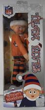 """Denver Broncos NFL TEAM Logo Elves Elf Christmas 9"""" Orange Blue Holiday Shelf"""
