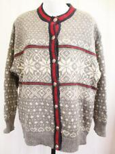 Medium - Vintage LL Bean Womens Grey Nordic Snowflake Wool Cardigan Retro - B906