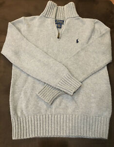 Ralph Lauren Polo Gray 1/4 Zip Pullover Sweater Boys Size 10/12