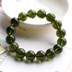 10mm Green GEM MOLDAVITE Meteorite Impact Glass Round Bead Bracelet