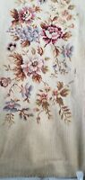 """Vintage Antique PREWORKED Needlepoint Canvas Bench Cover Floral Design 45x19"""""""