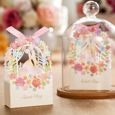 50Xbride and groom Hollow Flower candy box Wedding Favors Chocolate Box w/Ribbon