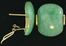 Natural Green Jadeite Jade 'Curved Slab' 14K Yellow Gold Earrings (4244G750)
