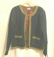 Units Womens Blazer Small Open Front Denim Tastefully Sequined Trim Lined