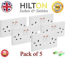 HILTON White Square Edge Double Socket, Twin Socket 13Amp Pack of 5 Best Quality