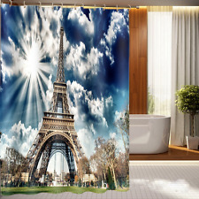 "Waterproof 60x72"" Shower Curtain Bathroom Decor Effiel Tower Scenery Peel Panel"