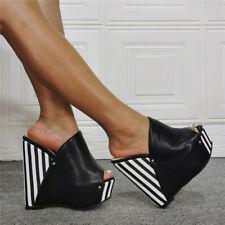 Womens Sexy Wedge Super High Heel Slippers Black Striped Mules Platform Sandals
