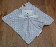 Blankets & Beyond Baby Boy Security Blanket ~ Gray with White Polka Dots~ Bear ~