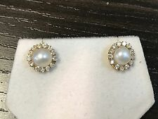 Solid 14k Yellow Gold Fresh Water Pearl CZ Stone Halo Stud Post Earrings