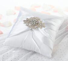 Jeweled Motif White Ring Pillow Ring Bearer Wedding Ceremony Aisle Satin