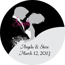 120 Personalized Custom Bride and Groom Wedding Round Stickers Envelope Seals