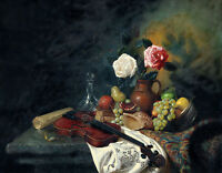 Dream-art Oil painting still life conch flowers with violin fruits bottle 24x36""