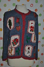 VTG M UGLY CARLY ST CLAIR CHRISTMAS SNOWMAN tree SANTA DEER BELL beads + SWEATER